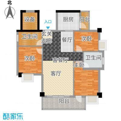 尚领时代104.72㎡D01单元3室面积10472m户型