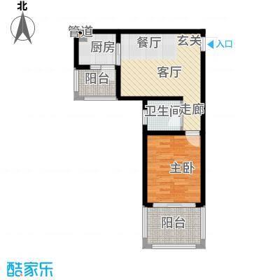 木里小镇55.19㎡一期6号楼标准层自由空间户型