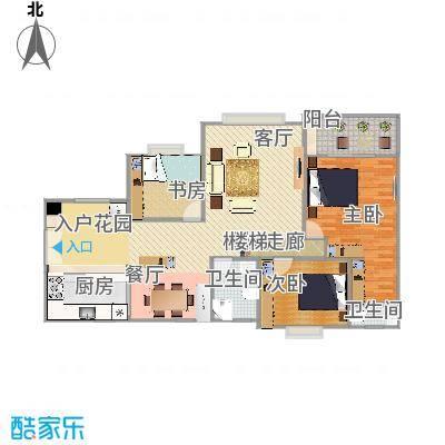 畔山龙庭D栋119.66平方三室两厅户型图(有家具)2