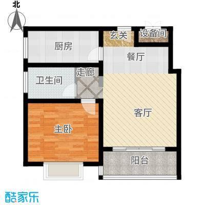 延虹公寓房型: 一房; 面积段: 70.68 -72.63 平方米; 户型