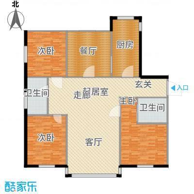 紫晶南园二期158平米三房两厅两卫户型