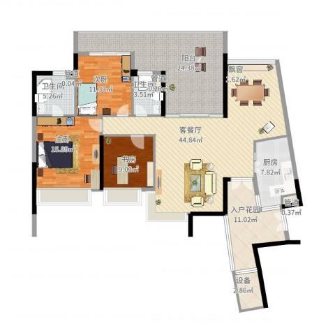 华发世纪城三期3室2厅2卫1厨191.00㎡户型图