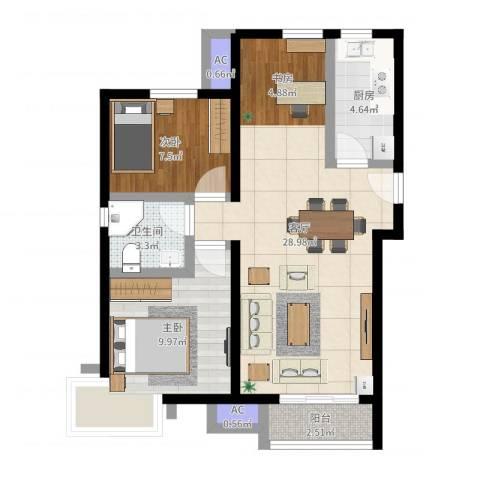 金隅悦城2室1厅1卫1厨73.00㎡户型图