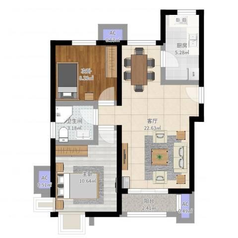 金隅悦城2室1厅1卫1厨67.00㎡户型图