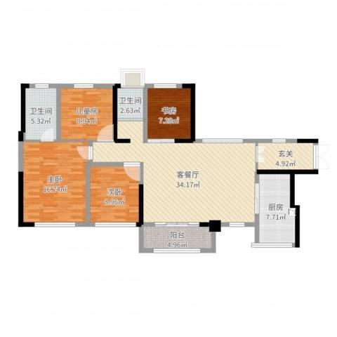振业城4室2厅2卫1厨127.00㎡户型图