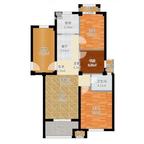 天一名都3室2厅1卫1厨117.00㎡户型图