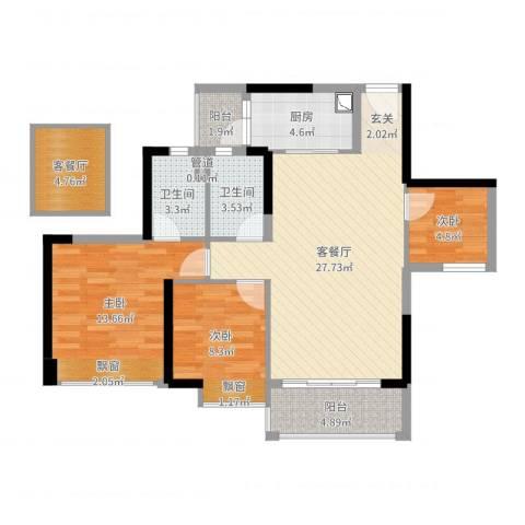 时代倾城(顺德)3室2厅2卫1厨89.00㎡户型图