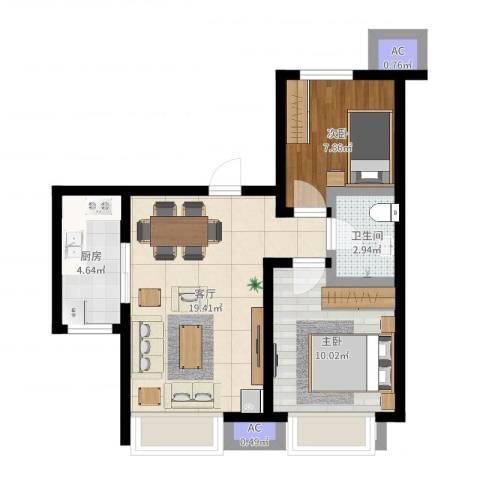 金隅悦城2室1厅1卫1厨57.00㎡户型图