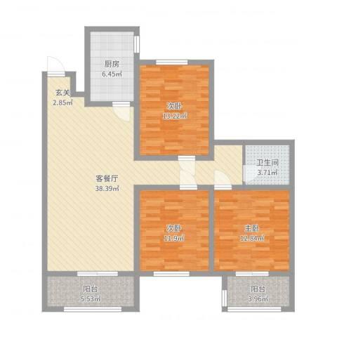 华润凯旋门3室2厅1卫1厨120.00㎡户型图