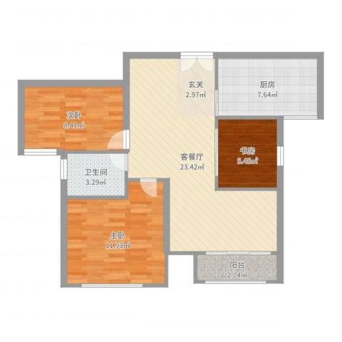 万成香格里拉3室2厅1卫1厨79.00㎡户型图