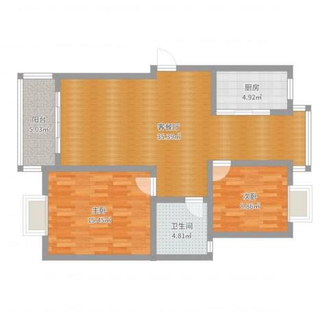 北港和景苑36#2室2厅1卫1厨93.00㎡户型图