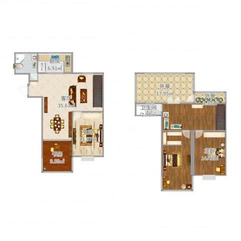 广石家园3室1厅1卫1厨182.00㎡户型图