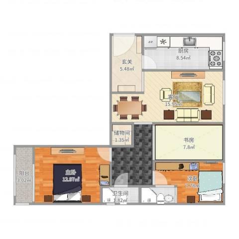 丽泽景园3室1厅1卫2厨91.00㎡户型图