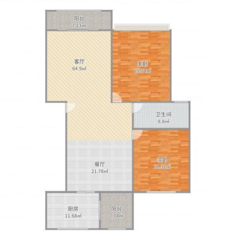 禄德嘉苑2室1厅1卫1厨193.00㎡户型图