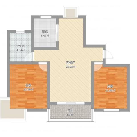 玉宇新苑2室2厅1卫1厨81.00㎡户型图