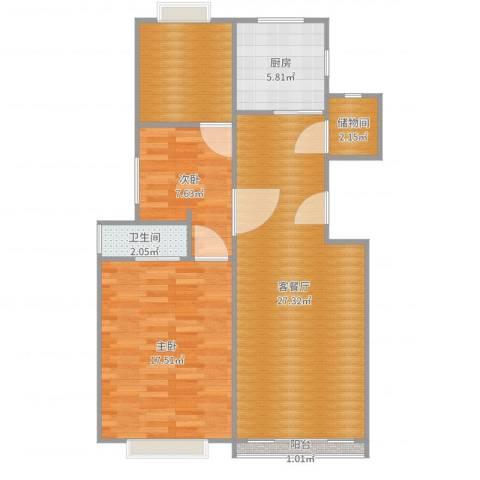 金杨金台苑2室2厅1卫1厨88.00㎡户型图