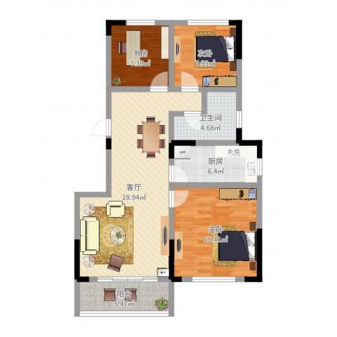 信达郡庭3室1厅1卫1厨95.00㎡户型图
