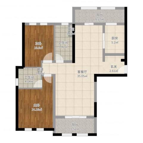 安亭瑞仕华庭2室2厅2卫1厨108.00㎡户型图