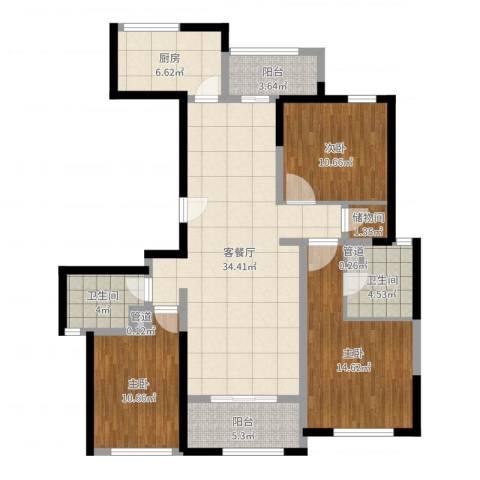 安亭瑞仕华庭3室2厅2卫1厨120.00㎡户型图