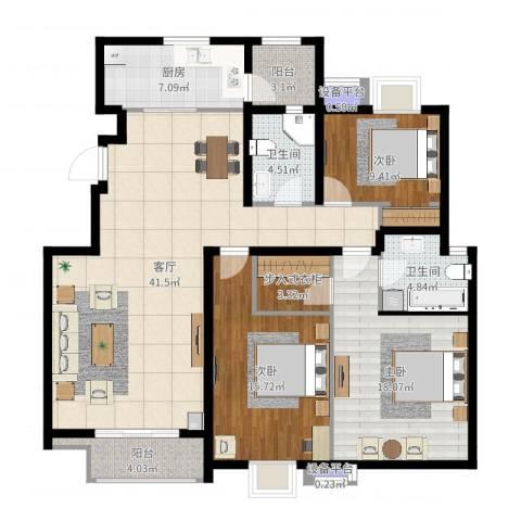 金隅悦城3室1厅2卫1厨141.00㎡户型图