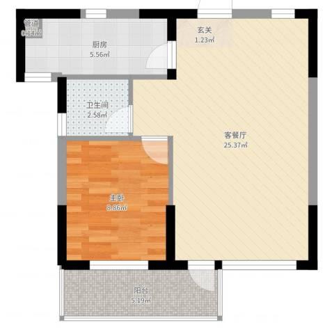 斯坦福院落2011百花深处1室2厅1卫1厨60.00㎡户型图