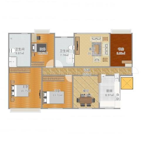 香豪凯旋广场4室2厅2卫1厨146.00㎡户型图