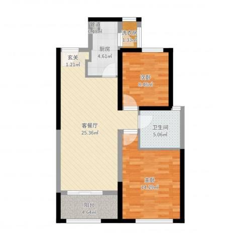 中铁・缇香郡2室2厅1卫1厨80.00㎡户型图