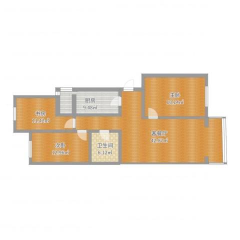 龙跃苑一区3室2厅1卫1厨126.00㎡户型图