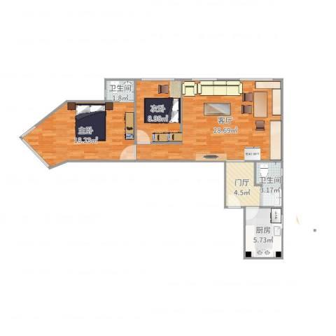 安慧北里逸园24号楼110两居2室1厅2卫1厨89.00㎡户型图