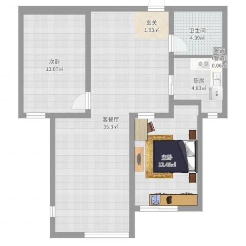 东方骏景2室2厅1卫1厨88.00㎡户型图