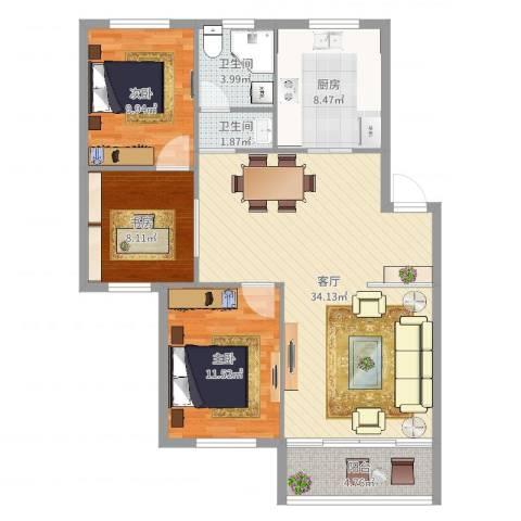 枫湾家园3室1厅2卫1厨103.00㎡户型图