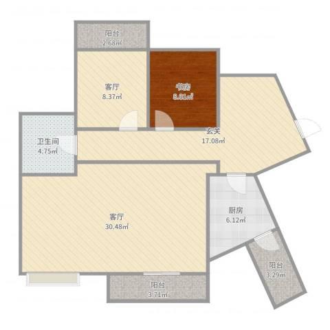 海投天湖城1室2厅1卫1厨106.00㎡户型图