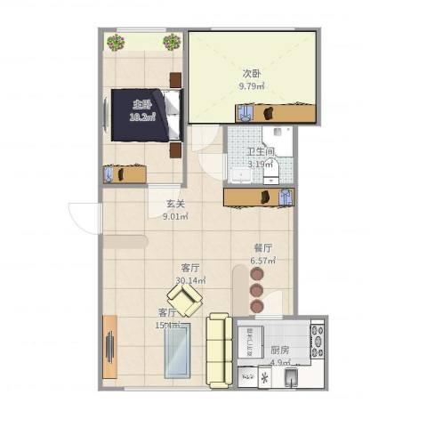 昌鸿小区2室1厅1卫1厨58.22㎡户型图