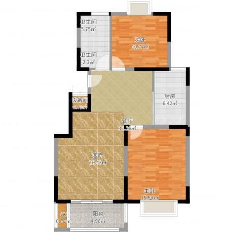 丽景翠庭2室1厅1卫1厨108.00㎡户型图