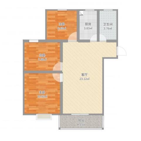 春晖小区3室1厅1卫1厨75.00㎡户型图