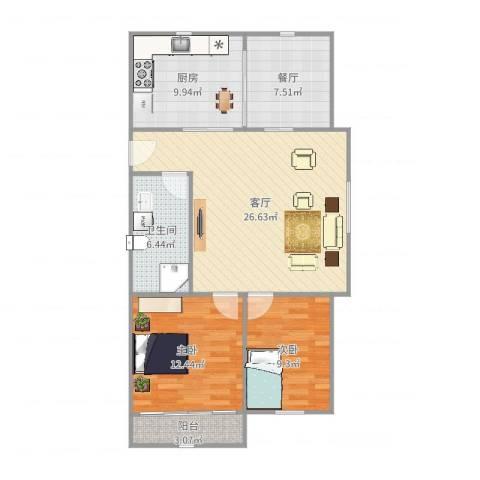 春山华居2室2厅1卫1厨75.32㎡户型图