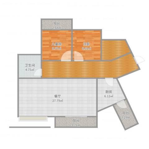 海投天湖城2室1厅1卫1厨105.00㎡户型图