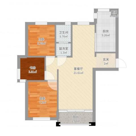 宁舟新村3室2厅1卫1厨62.00㎡户型图