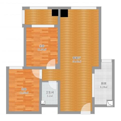 贵都花园2室2厅1卫1厨89.00㎡户型图