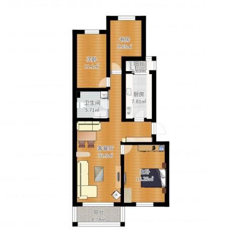 龙跃苑一区3室2厅1卫1厨112.00㎡户型图