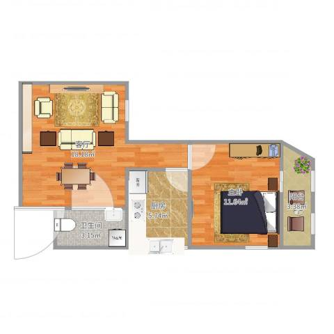 牛街东里一区1室1厅1卫1厨53.00㎡户型图