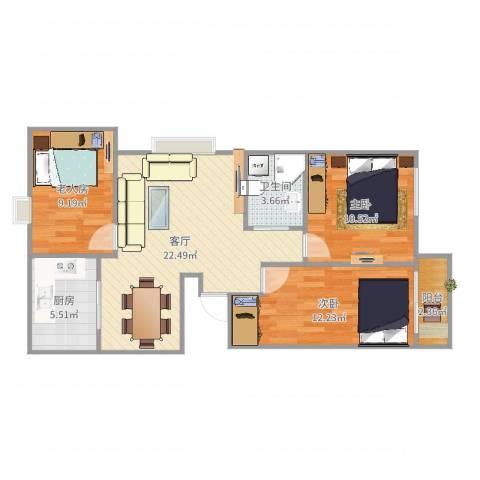 京城国际3室1厅1卫1厨82.00㎡户型图