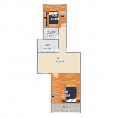 佳虹小区2室1厅1卫1厨94.00㎡户型图