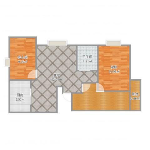 京城国际2室1厅1卫1厨82.00㎡户型图