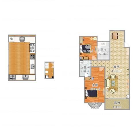 瑞士风情小镇2室1厅1卫1厨125.86㎡户型图