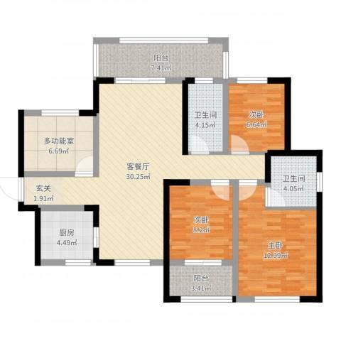 九州丽景苑3室2厅2卫1厨110.00㎡户型图