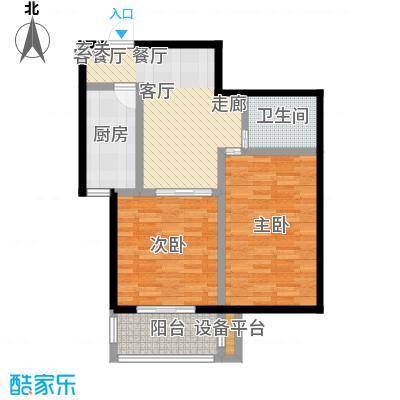 澜点家园两室两厅一卫 75㎡户型2室2厅1卫-副本