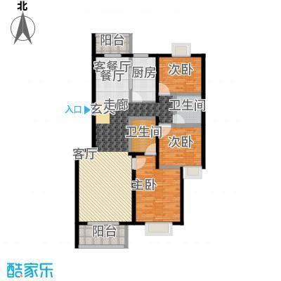 傲城尊邸135.00㎡北区二、三号楼F户型3室2厅2卫1厨