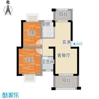 知言・棋子湾一号68.20㎡A户型2室2厅1卫1厨