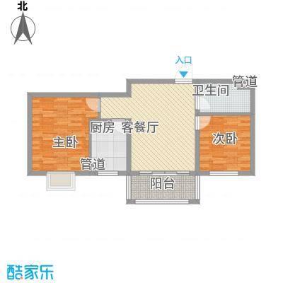 广泰瑞景城85.00㎡二期5#b2-2户型2室2厅1卫1厨